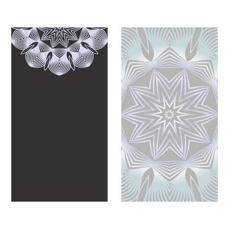 The Front And Rear Side. Mandala Design Elements. Wedding Invitation, Thank You Card, Save Card, Baby Shower. Vector Illustration. Grey color.