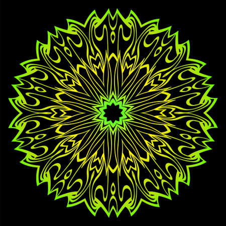 Floral Color Mandala. Arabic, Indian, Motifs. Vector Illustration. Black, green color. Ilustração