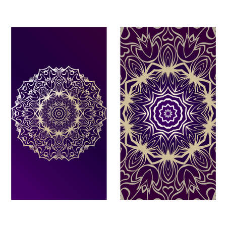 Ethnic Mandala Ornament. Templates With Mandalas. Vector Illustration For Congratulation Or Invitation. The Front And Rear Side. Purple gold color.