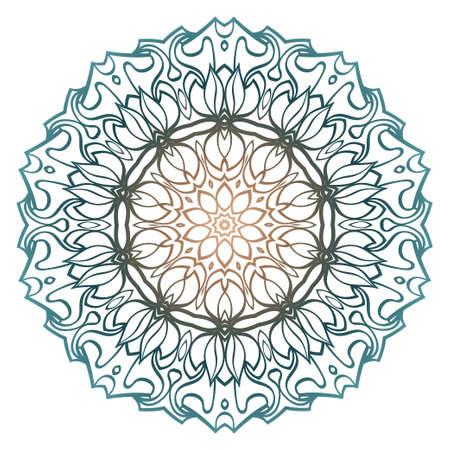 Floral Color Mandala. Arabic, Indian, Motifs. Vector Illustration. Brown pastel blue color.