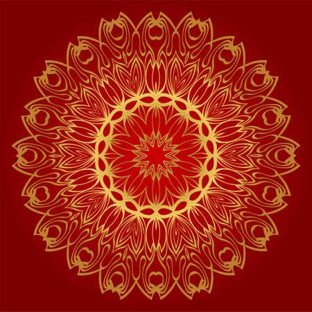 Modern Floral Vector Ornaments. Decorative Flower Mandala. Vector Illustration. Red, gold color. Векторная Иллюстрация