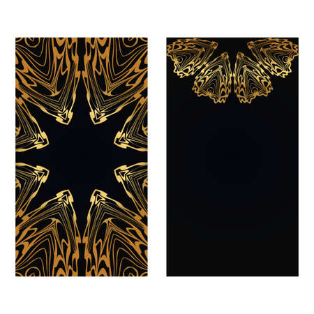 Luxury black gold color Templates For Greeting And Business Cards. Vector Illustration. Oriental Pattern With. Mandala. Wedding Invitation