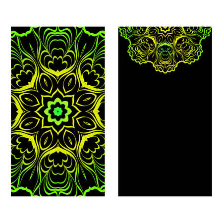 The Front And Rear Side. Mandala Design Elements. Wedding Invitation, Thank You Card, Save Card, Baby Shower. Vector Illustration. Black green color. Illustration