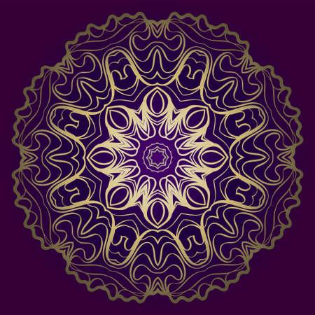 Flower Round Pattern. Vector Illustration. For Design, Invitation Wedding, Valentine's, Background, Wallpaper, Interior. Purple gold color.
