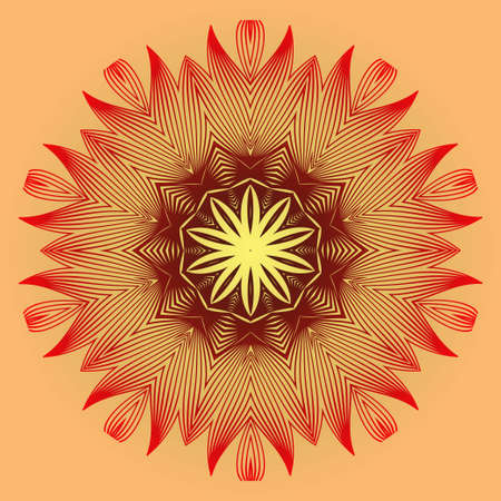 Vector With Mandala Pattern. Repeating Sample Figure And Line. Modern Decorative Floral Color Mandala. Red orange gold colour