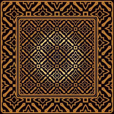Motif Décoratif Avec Ornement Géométrique. Parfait pour l'impression sur tissu ou papier. Illustration vectorielle. Couleur bronze noir.