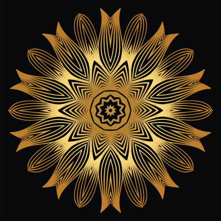 Vector Round Abstract Mandala Style Decorative Element. Hand-Drawn Vector Illustration. Can Be Used For Textile, Greeting Card, Coloring Book, Phone Case Print. Luxury black gold color. Illustration