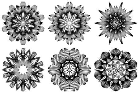 Set of Hand Drawn Background With Mandala. Vector Decorative Elements. Arabic, Indian, Ottoman Motifs. Black white color.
