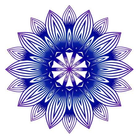 Vector Illustration. Modern Decorative Floral Mandala. Hand Drawn Background. Islam, Arabic, Indian, Ottoman Motifs. Purple blue gradient.
