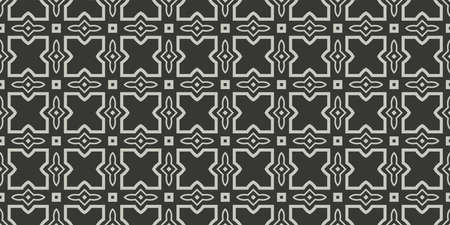 Art Deco Pattern Of Geometric Elements. Seamless Pattern. Vector Illustration. Design For Printing, Presentation, Textile Industry. Grey charcoal color. 向量圖像