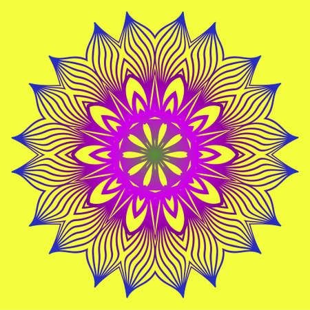 Sacred Oriental Mandala. Color Floral Ornament. Abstract Shapes In Asian Style. Vector Illustration. Yellow purple color.