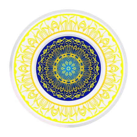 Round Symmetrical Pattern. Mandala. Kaleidoscopic Design. Vector Illustration. Oriental Pattern. Indian, Moroccan, Mystic, Ottoman Motifs. Anti-Stress Therapy Pattern Illustration