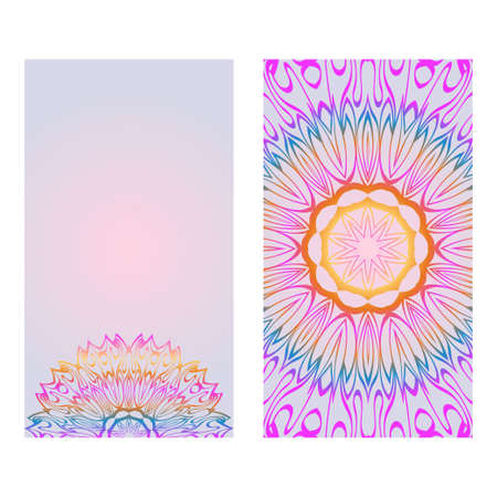 Modern Vector Template With Tribal Mandalas. For Brochure, Flyer, Cover, Magazine. Rainbow color.