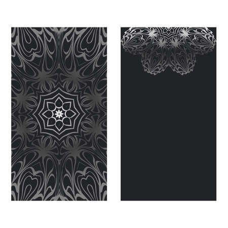 Visit Card Template With Floral Mandala Pattern. Vector Template. Islam, Arabic, Indian, Mexican Ottoman Motifs. Hand Drawn Background. Black silver color.