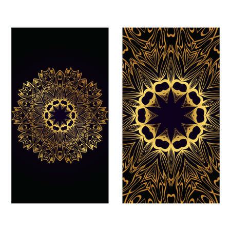Visit Card Template With Floral Mandala Pattern. Vector Template. Islam, Arabic, Indian, Mexican Ottoman Motifs. Hand Drawn Background. Luxury black gold color. Foto de archivo - 119156779