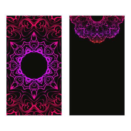 Vintage Invitation Or Wedding Card. Vector Illustatration. The Front And Rear Side. Black purple color.