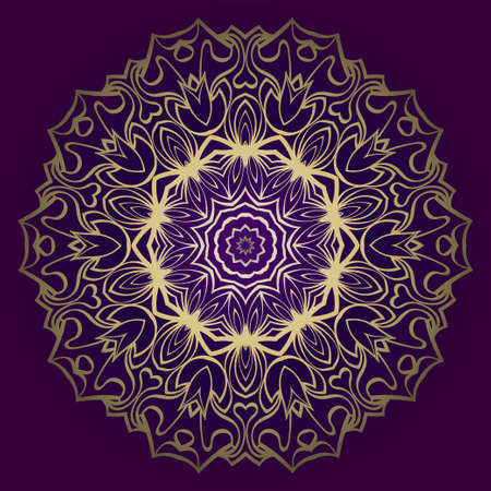Floral Mandala. Vector Illustration. Repeating Sample Figure And Line. For Fashion Interiors Design, Wallpaper, Textile Industry. Anti-Stress Therapy Pattern. Purple gold color.