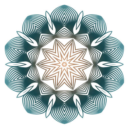 Indian Floral Mandala Pattern.Vector Henna Tattoo Style. Can Be Used For Textile, Greeting Card, Coloring Book, Phone Case Print. Beige pastel color.