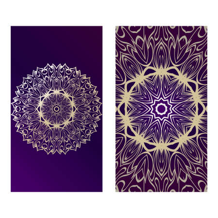 Vintage Cards With Floral Mandala Pattern. Vector Template. The Front And Rear Side. Luxury purple gold color. Illustration