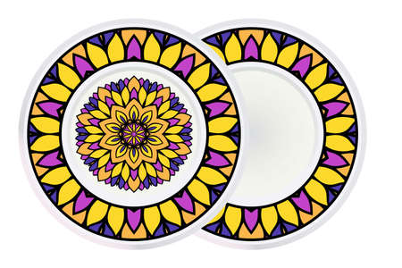Set of two Decorative Elements With Mandala Ornament and round frame. Ornamental Floral, Oriental Pattern. Vector Illustration. Indian, Moroccan, Mystic, Ottoman Motifs. Anti-Stress Therapy Pattern.
