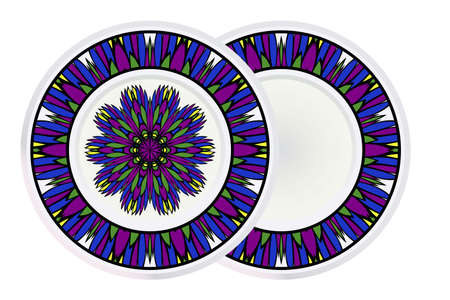 Set of two Decorative Round Mandala From Floral Elements with border. Vector Illustration. For Coloring Book, Greeting Card, Invitation, Tattoo. Anti-Stress Therapy Pattern.