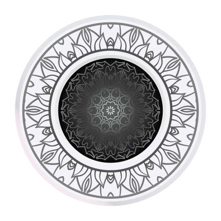 Round Pattern Flower Mandala. Circle Floral Ornament. Legend Decorative Vector Illustration.
