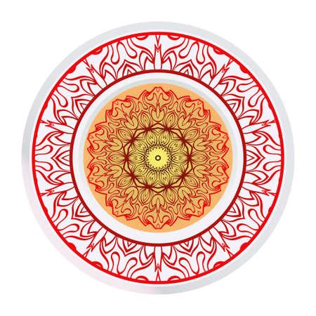 Mandala Ornament. Vector Illustration. For Wedding, Bridal, Valentine's Day, Greeting Card Invitation. Oriental Pattern. Indian, Moroccan, Mystic, Ottoman Motifs. Anti-Stress Therapy Pattern