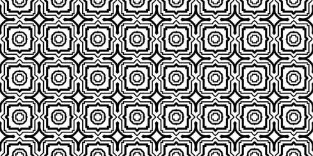 Decorative Traditional Geometric Ornament. Seamless Pattern. Vector Illustration. Tribal Ethnic Arabic, Indian, Motif. For Interior Design, Wallpaper. Black white color. 矢量图像