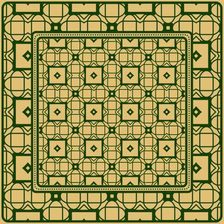 Design Of A Scarf With A Geometric Pattern . For Scarf Print, Fabric, Covers, Scrapbooking, Bandana, Pareo, Shawl. Vector Illustration