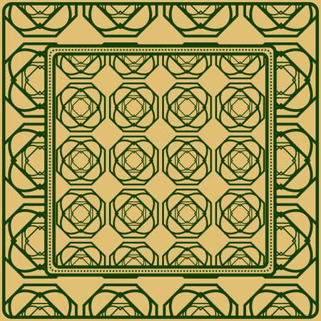 Design Of A Scarf With A Geometric Pattern . Vector Illustration. For Print Bandana, Shawl, Carpet, Tablecloth, Bed Cloth, Fashion.