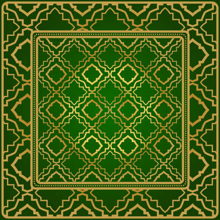 Background, Geometric Pattern With Ornate Lace Frame. Illustration. For Scarf Print, Fabric, Covers, Scrapbooking, Bandana, Pareo, Shawl. Green gold color. Ilustración de vector