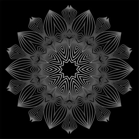 Flower Coloring Mandala. Decorative Elements. Oriental Pattern, Vector Illustration. Indian, Moroccan, Mystic, Ottoman Motifs. Black white grey color.