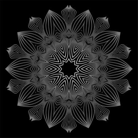 Mandala à colorier de fleurs. Éléments décoratifs. Motif Oriental, Illustration Vectorielle. Motifs indiens, marocains, mystiques, ottomans. Couleur gris blanc noir.