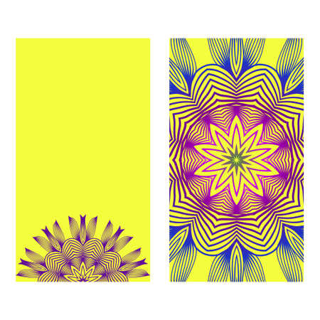 Yoga Card Template With Mandala Pattern. For Business Card, Meditation Class. Vector Illustration. Yellow purple color.