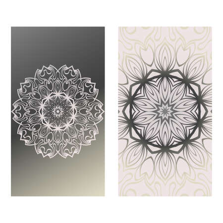 Design Vintage Cards With Floral Mandala Pattern And Ornaments. Vector Template. Islam, Arabic, Indian, Mexican Ottoman Motifs. Hand Drawn Background. Grey silver color. Vectores