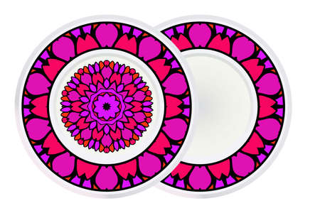Set of Round Floral Mandala Ornament and frame. Vector Illustration. Isolated. Oriental Design Layout.  イラスト・ベクター素材