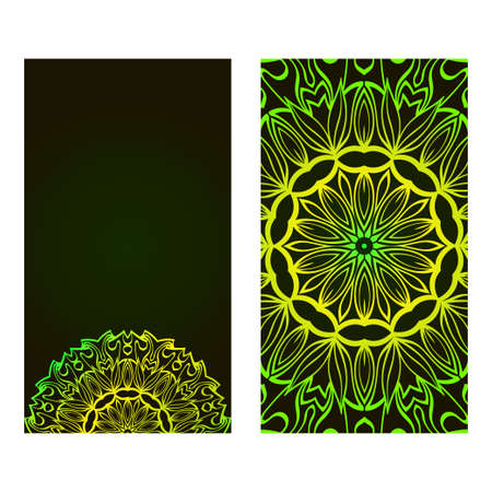 Relax Cards With Mandala Formed Flowers, Boho Style, Vector Illustration. For Wedding, Bridal, Valentine's Day, Greeting Card Invitation. Black green color. Banque d'images - 119542777