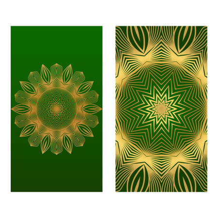 Templates Card With Mandala Design. Heathcare, Lifestyle Flyer. Vector Illustration. Romantic green gold color. Ilustración de vector