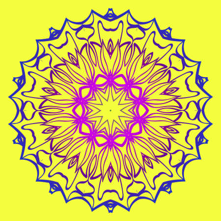 Beautiful Mandala. Floral Round Ornament. Vector Illustration. For Modern Interiors Design, Wallpaper, Textile Industry. Yellow purple color. Vetores