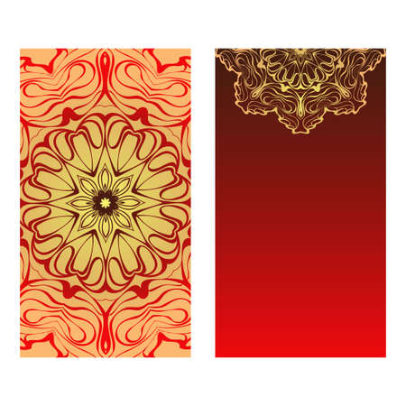 Luxury red, sunrise, gold color The Front And Rear Side. Mandala Design Elements. Wedding Invitation, Thank You Card, Save Card, Baby Shower. Vector Illustration