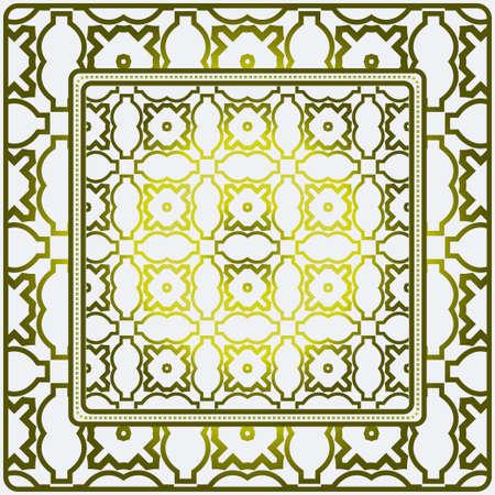 Geometric Ornament With Frame, Border. Art-Deco Background. Bandanna, Shawl, Scarf, Tablecloth Design. 向量圖像