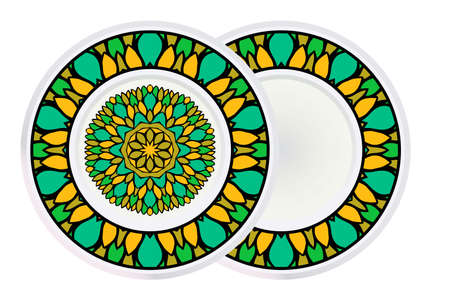 Set of two Round Floral Ornament Mandala. Vector Illustration.. For Home Decor, Interior Design, Coloring Book, Greeting Card, Invitation, Tattoo. Anti-Stress Therapy Pattern. 矢量图像