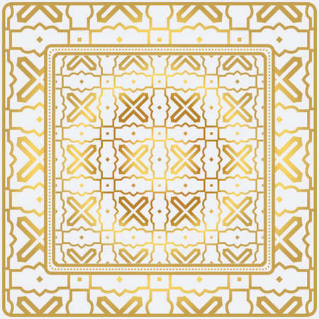 Geometric Pattern With Hand-Drawing Floral Ornament. Vector Illustration. For Fabric, Textile, Bandana, Scarg, Print. Gold color.