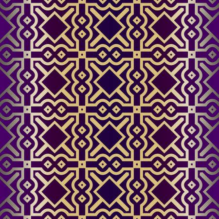Geometric Pattern, Lace Geometric Ornament. Ethnic Beautiful Ornament. Vector Illustration. For Greeting Cards, Invitations, Cover Book, Fabric, Scrapbooks. Purple gold color. Иллюстрация