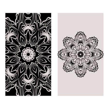 Templates Card With Mandala Design. Heathcare, Lifestyle Flyer. Vector Illustration. Black brown color.
