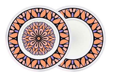 Set of Relaxing Floral Mandala Ornament and circle frame. Vector Illustration. Print For Modern Yoga Interiors Design, Wallpaper, Textile Industry.