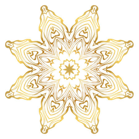 Luxury Art Deco Floral Pattern. Mandala Design. Vector Illustration. Oriental Pattern. Indian, Moroccan, Mystic, Ottoman Motifs. Anti-Stress Therapy Pattern. Gold color. Ilustração