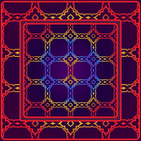 Fondo, patrón geométrico con marco de encaje adornado. Ilustración. Para estampado de bufanda, tela, fundas, scrapbooking, bandana, pareo, chal. Ilustración de vector