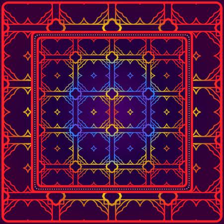 Geometric Ornament With Frame, Border. Art-Deco Background. Bandanna, Shawl, Scarf, Tablecloth Design. Illustration