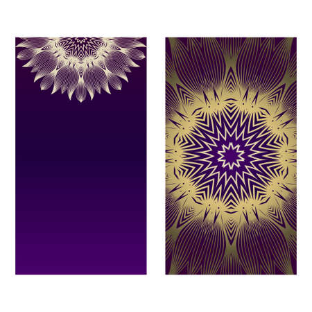 Yoga Card Template With Mandala Pattern. For Business Card, Fitness Center, Meditation Class. Vector Illustration. Luxury romantic purple gold color.